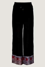 Sashy Silk Cotton Long Pants - Chiffon Printed Hem