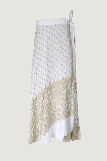 Ksenia Silk Wrap Skirt - Hand Cut Silk Jacquard Skirt