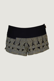 Daisy Silk Fitted Hot Pant Shorts- Hand Cut Silk With Hand Beaded Zipper