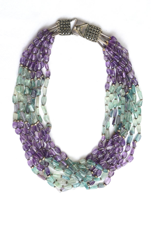 Louis Ten Amethyst and Topaz Silver Necklace