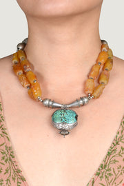 Laura Golden Beryl and Chrysocolla Turquoise Necklace