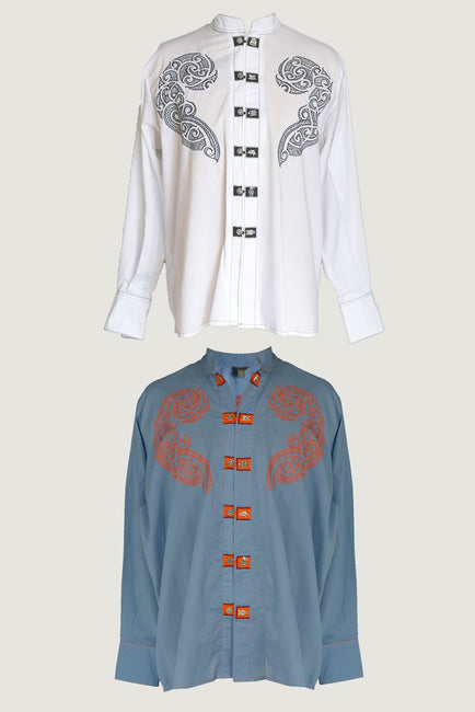Kauri - Kauri - Embroidered Cotton Men's Shirt