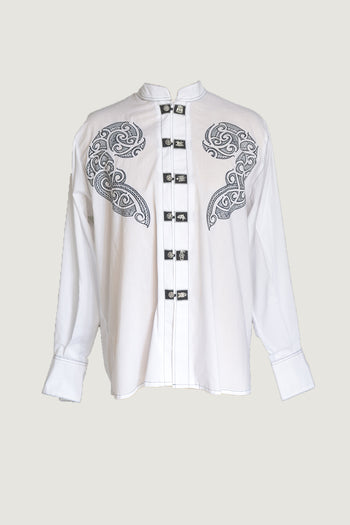 Kauri - Embroidered Cotton with Hand Carved Bone Buttons
