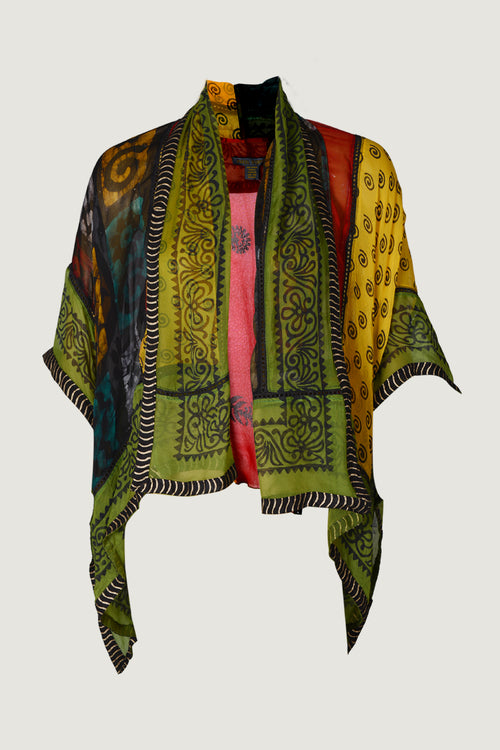 June Short Cape- Rayon Chiffon with hand-block print Patchwork