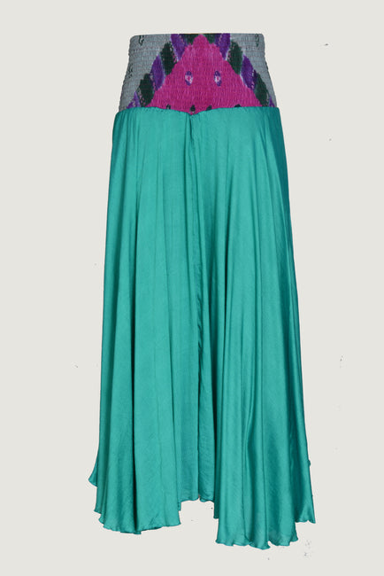 Berthilda Forest - Viscose Bandhani Silk Cotton Long Skirt