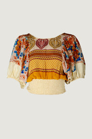 Latasha Silk Crop Top- Blouse Sleeve with Deep V Back - Limited Edition