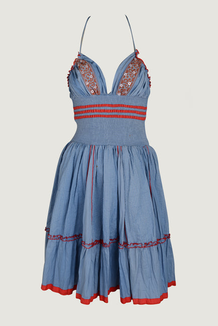 Falisa - Cotton Embroidery Border Applique Short Halter Dress