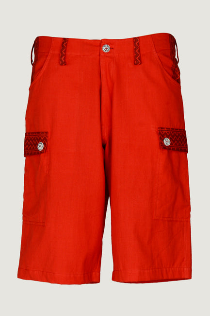 Wyatt Red - 100% Cotton Men's Shorts With Hand Carved Bone Buttons