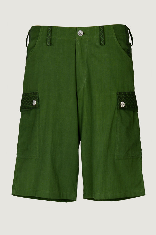 Wyatt Forest - 100% Cotton Men's Shorts With Hand Carved Bone Buttons