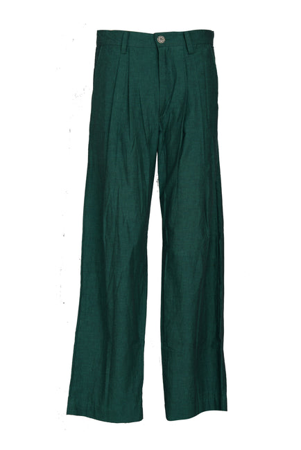 Iridescent - Woven Cotton Men's Long Pants- Emerald