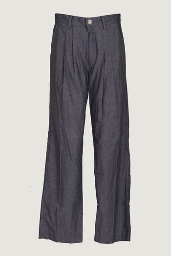 Iridescent - Woven Cotton Men's Long Pants- Dark Grey