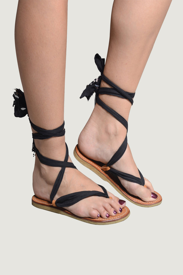 Adoria - Bali Ribbon Sandals - Black