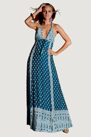 Klasum Halter Neck Dress- Hand Cut Jacquard Silk With Open Back