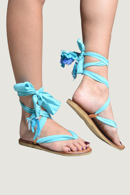 Adoria - Bali Ribbon Sandals - Water