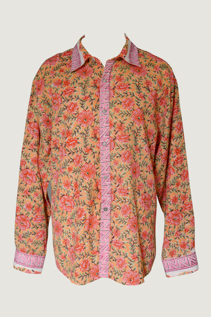 Luke Men's Shirt- Cotton Print with Hand Carved Bone Buttons