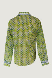 Luke - Cotton Print with Hand Carved Bone Buttons