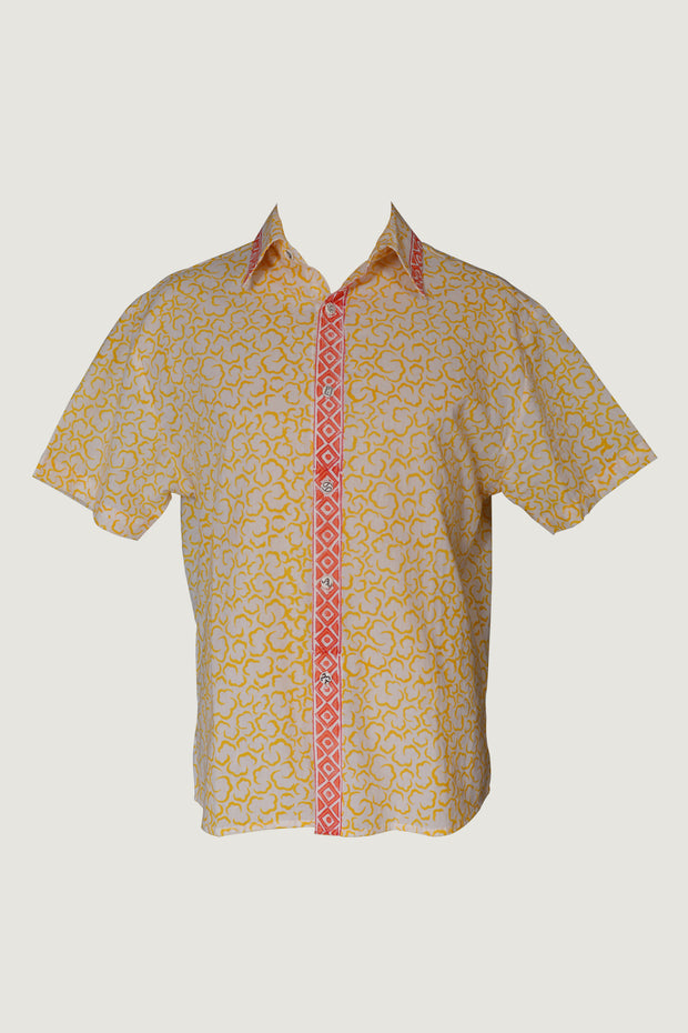 Juke Brown- Cotton Print with Hand Carved Bone Buttons