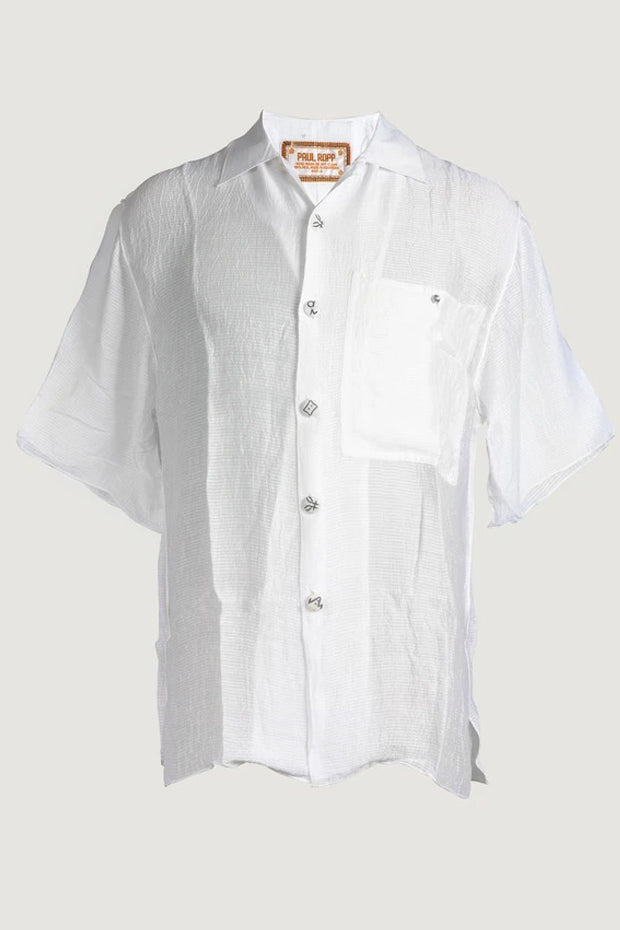 David - Silk Cotton Men's Shirt With Hand Carved Bone Buttons