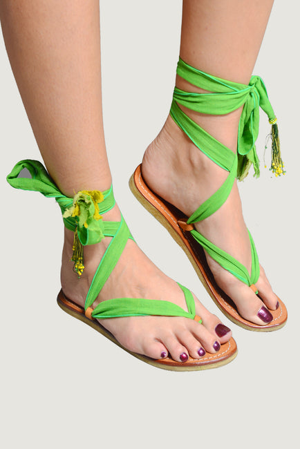 Adoria - Bali Ribbon Sandals - Forest