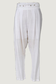 Sandy - Hand Cut Silk Pants With Hand Carved Bone Buttons