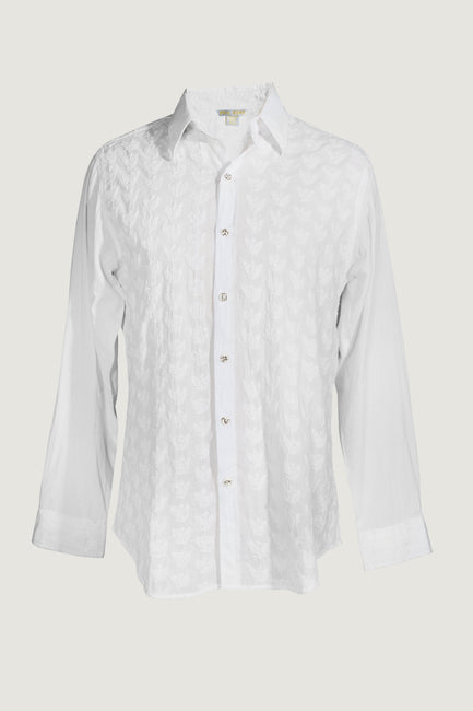 Liam - 100% Cotton With chicken Embroidery with Hand Carved Bone Buttons