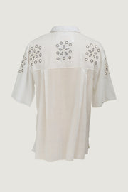 David Brown - 100% Cotton With Geometric Hand Embroidery with Hand Carved Bone Buttons