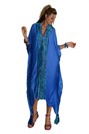 Gemma Ruffle Silk Kaftan Dress -  Silk Cotton with Chiffon