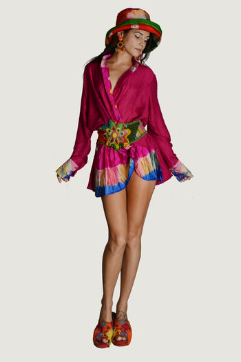 Felicity - Viscose Tye Dye Silk Cotton Wrap Shirt