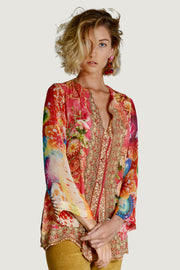 Raline -Long Sleeve Top Georgette Chiffon Digital Print