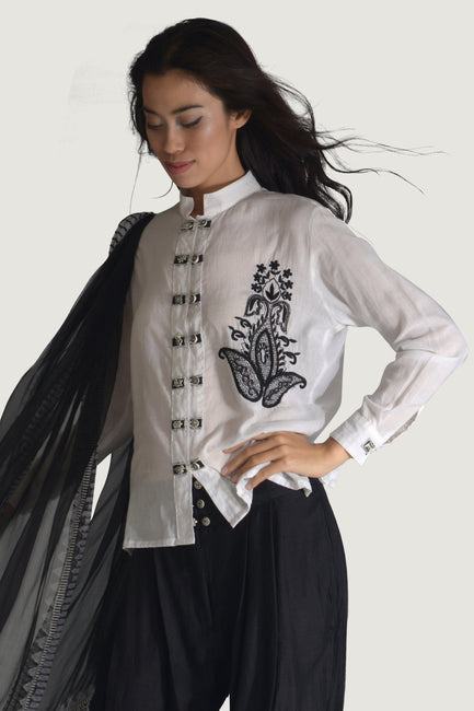 Lefony -  Cotton Hand Embroidery Beaded With Mandarin Collar