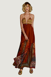 Sabrina Silk Cotton Halter Dress - and Georgette Digital Print