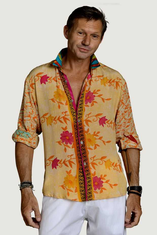 Harold - Silk Printed Men's Shirt With Hand Carved Bone Buttons