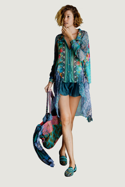 Cindie Long Tail Chiffon Floral Shirt