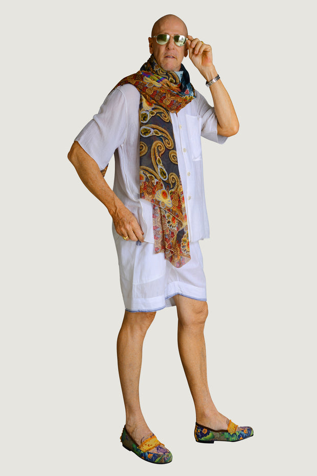 Warm Paisley Georgette Long Scarf