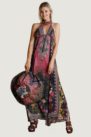 Klasum Chiffon Floral Print Halter Neck Dress