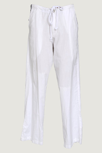 Hese - Soft Cotton With Border Drawstring Pants