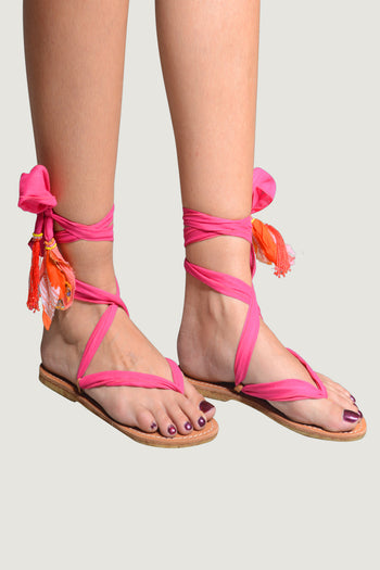 Adoria - Bali Ribbon Sandals - Fire