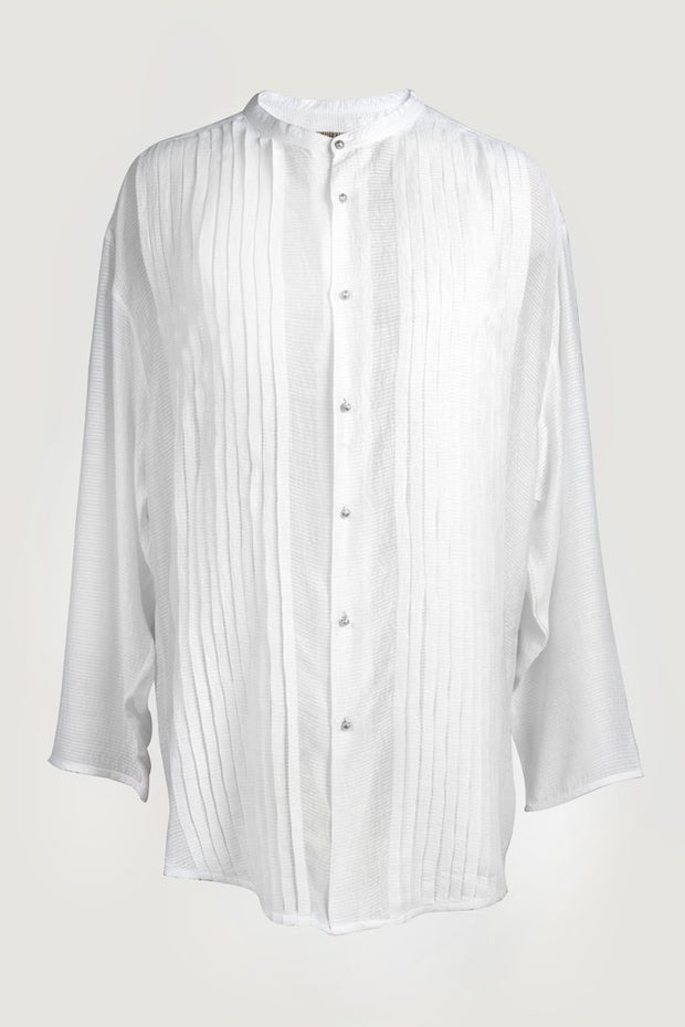 Raymond - Silk Cotton With Pleated Detail with Hand Carved Bone Buttons
