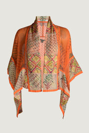 Orange Rayon and Chiffon Printed - Cape - Free Size