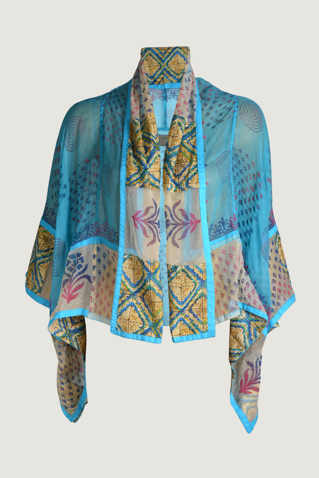 Blue Rayon and Chiffon Printed - Cape - Free Size