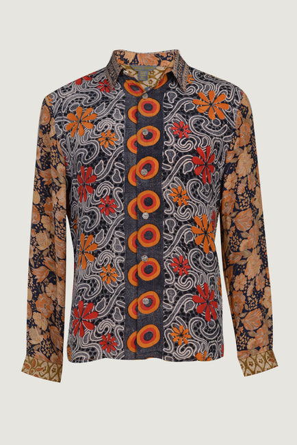 Harold - Silk Print With Hand Carved Bone Buttons