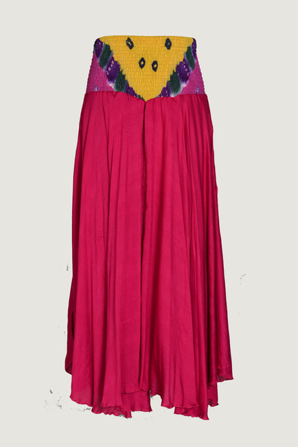 Berthilda Fire - Viscose Bandhani Silk Cotton Long Skirt
