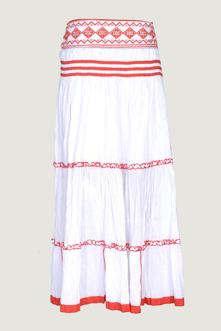 Metha - Voile Embrodiery Border Applique Long Skirt