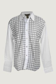 Tony - 100% Cotton With Geometric Embroidery with Hand Carved Bone Buttons