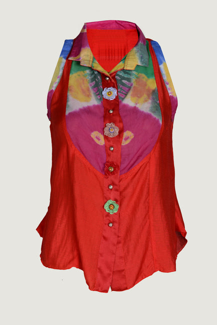 Sonam Fire - Viscose Tye Dye Silk Cotton Top