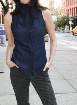 Sleeveless Buttoned-Down, Dyed Version Tops The Eight Senses® Dark Indigo XXS