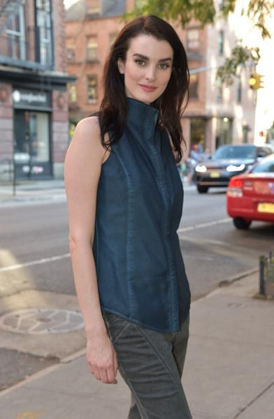 Sleeveless Buttoned-Down, Dyed Version Tops The Eight Senses® Dark Teal XXS