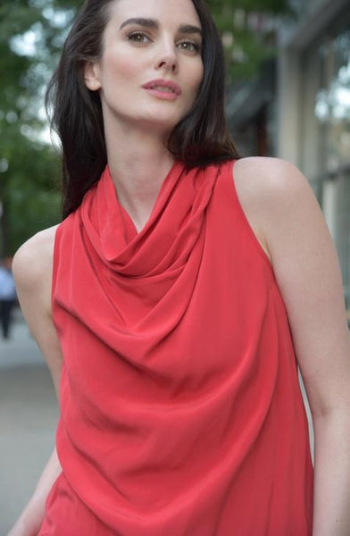 High Collar Sleeveless Silk Top by The Eight Senses