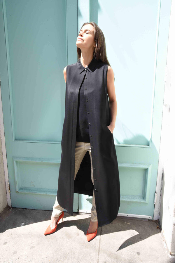 Sleeveless Silk Tunic Tops The Eight Senses® Black L