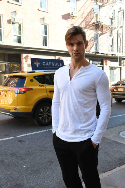 Henley Tops The Eight Senses® White S